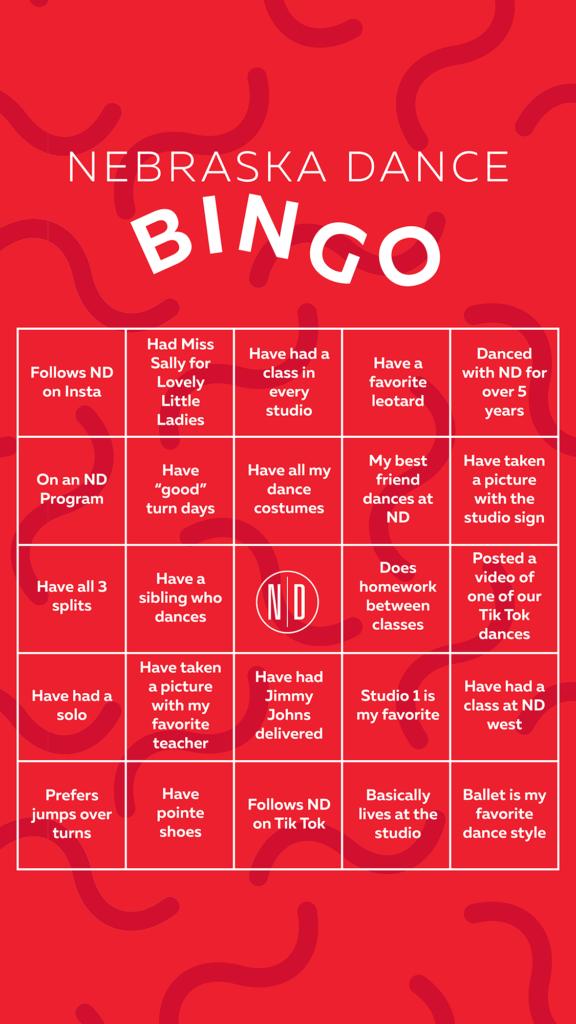 Nebraska Dance Bingo